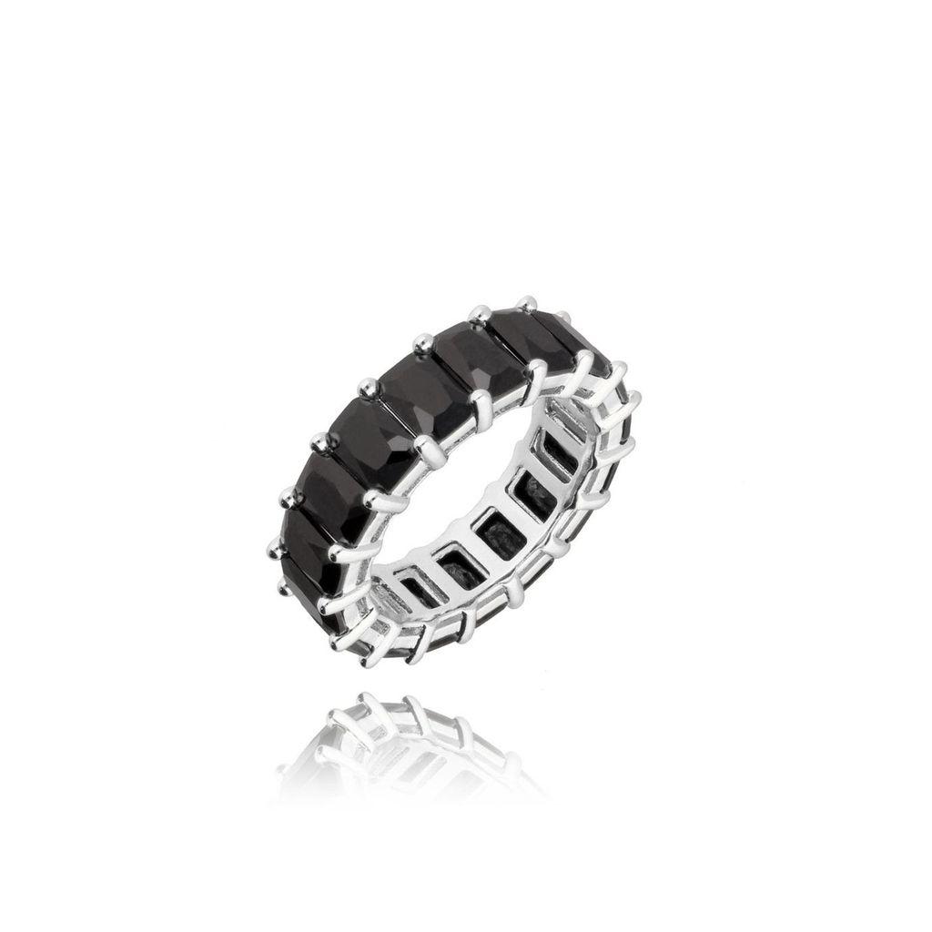 Pierścionek srebrny z czarnymi kryształkami PRG0182 rozmiar 15