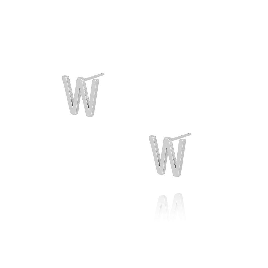 Kolczyki wkrętki z literką W srebrne KAT0026