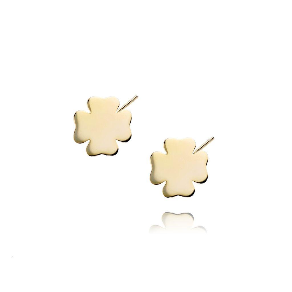 Kolczyki srebrne pozłacane koniczynki KBT0013
