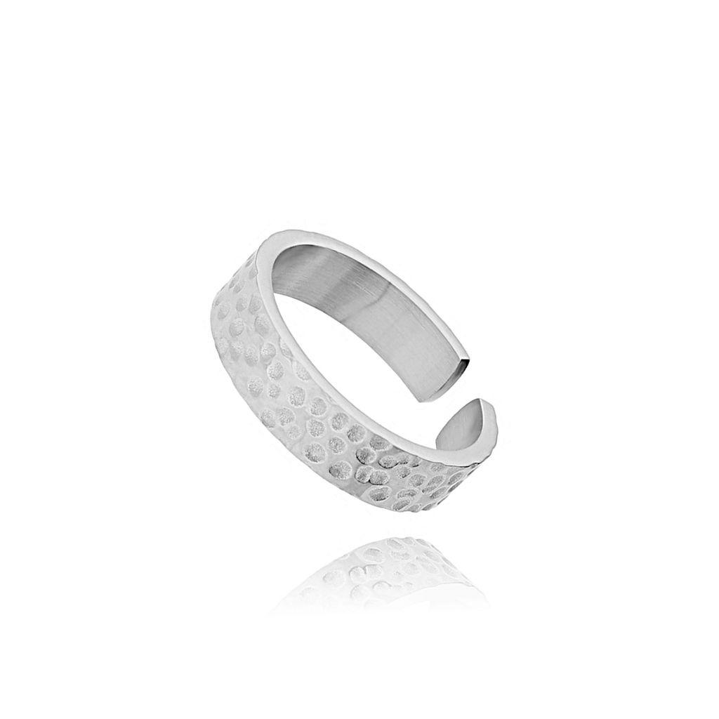 Pierścionek srebrny ze stali szlachetnej - młotkowany PSA0005