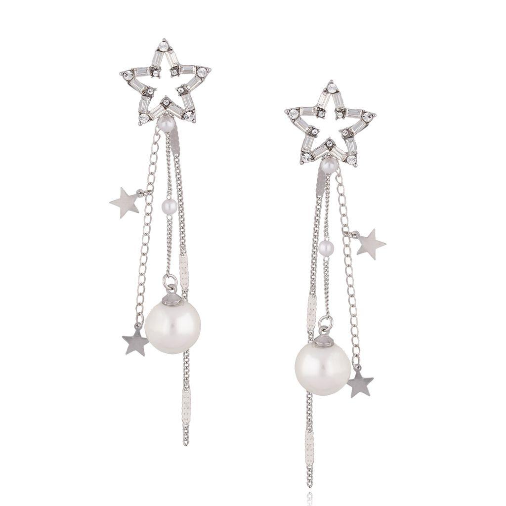 Kolczyki srebrne gwiazdki z perłami i kryształkami KRG0615