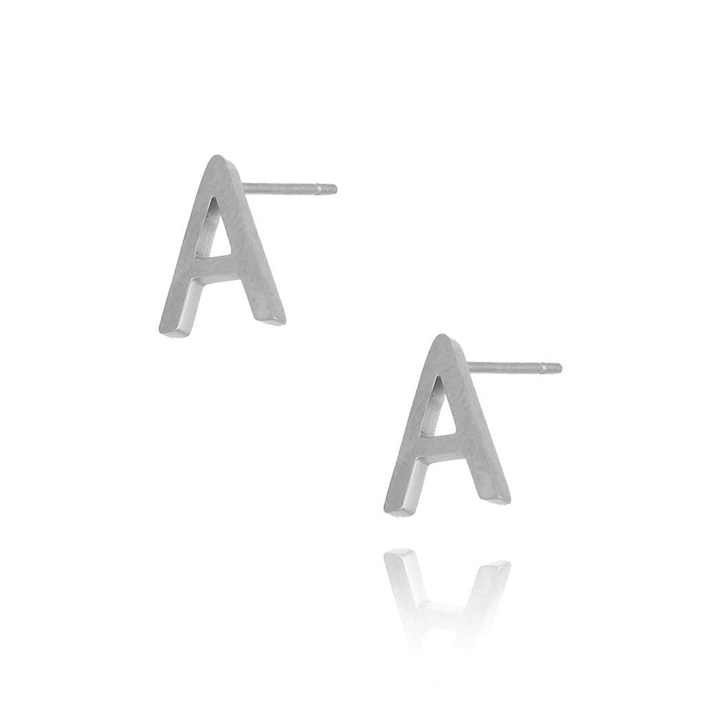 Kolczyki wkrętki srebrne  z literką  A KAT0047