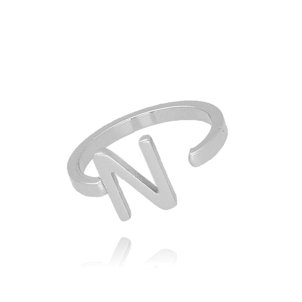 Pierścionek srebrny literka N PAT0028