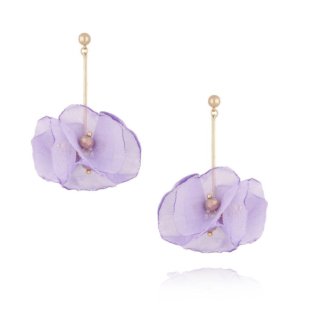 Kolczyki kwiaty jedwabne fioletowe KBL0356