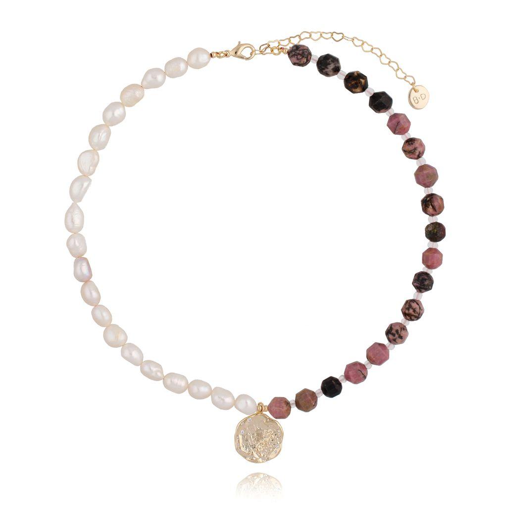 Naszyjnik różowy z perłami NPA0094
