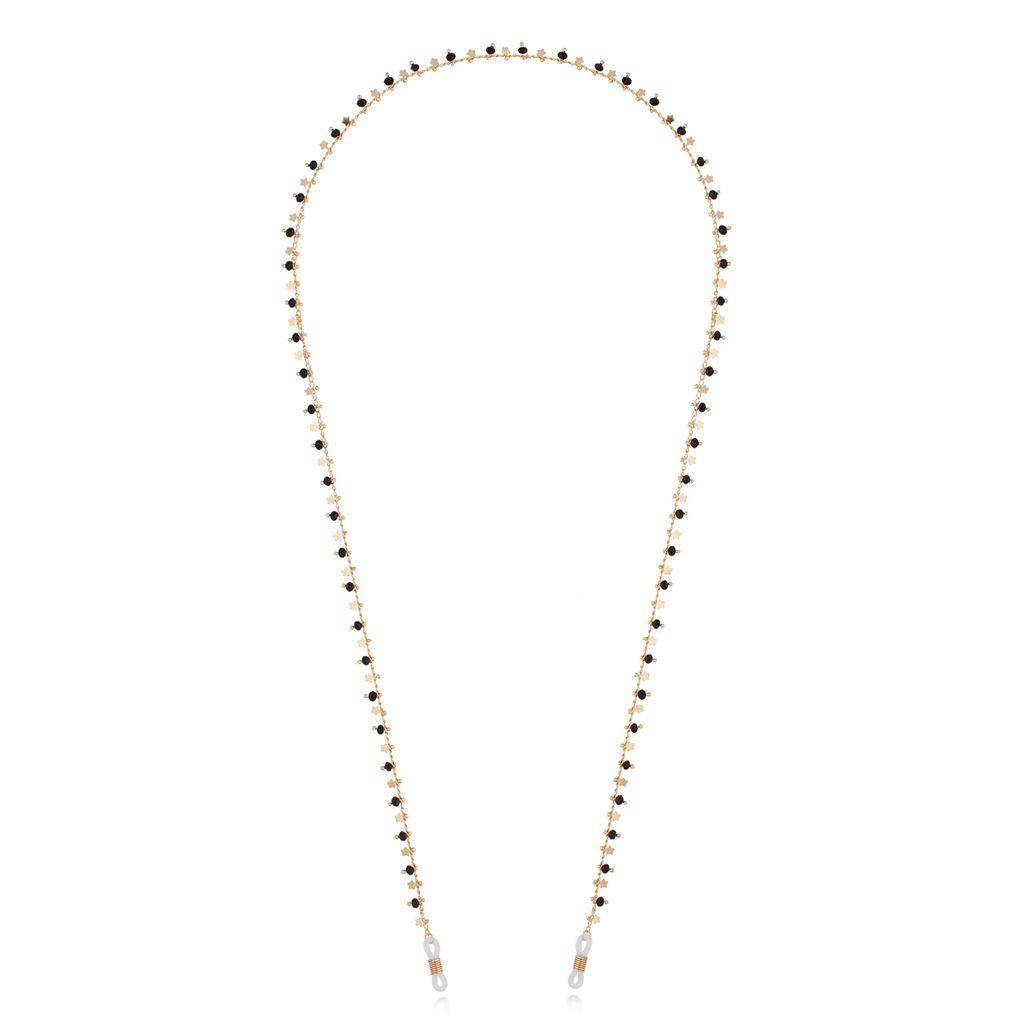 Łańcuszek do okularów złoty z kryształkami i gwiazdkami NOA0029