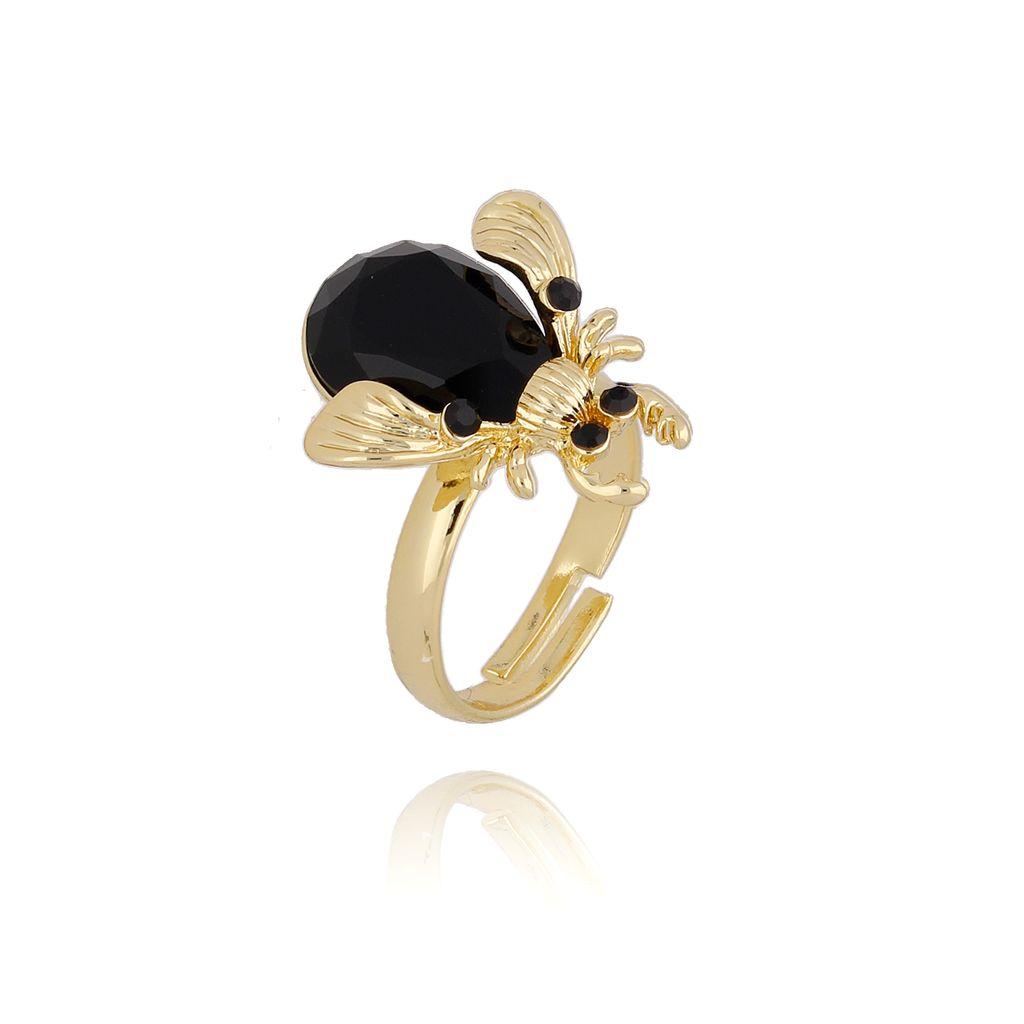 Pierścionek złoty żuk z czarnym kryształkiem i cyrkoniami PMI0074