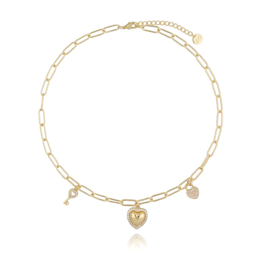 Naszyjnik złoty łańcuch z serduszkiem NRG0237