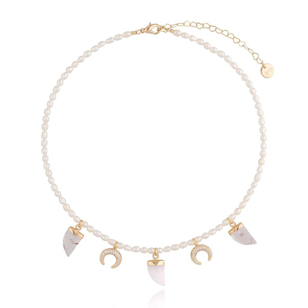 Naszyjnik z księżycami i kłami z perłami NPA0056