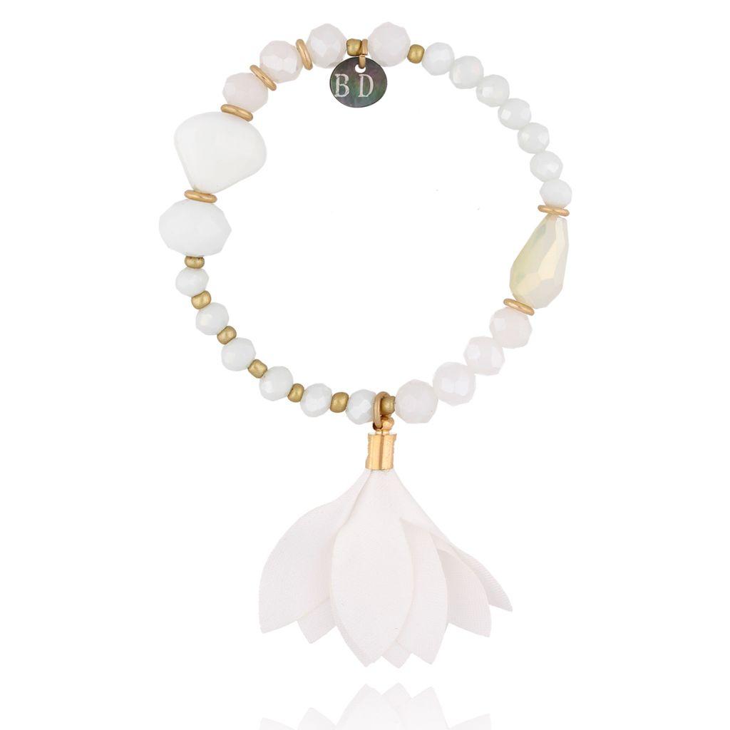 Bransoletka biała z kwiatem BBL0103