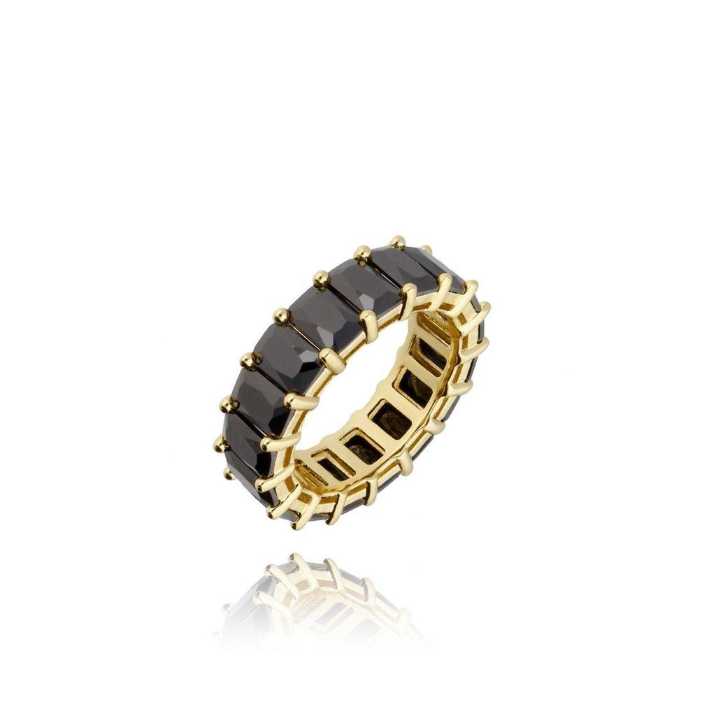 Pierścionek złoty z czarnymi kryształkami PRG0146 rozmiar 15