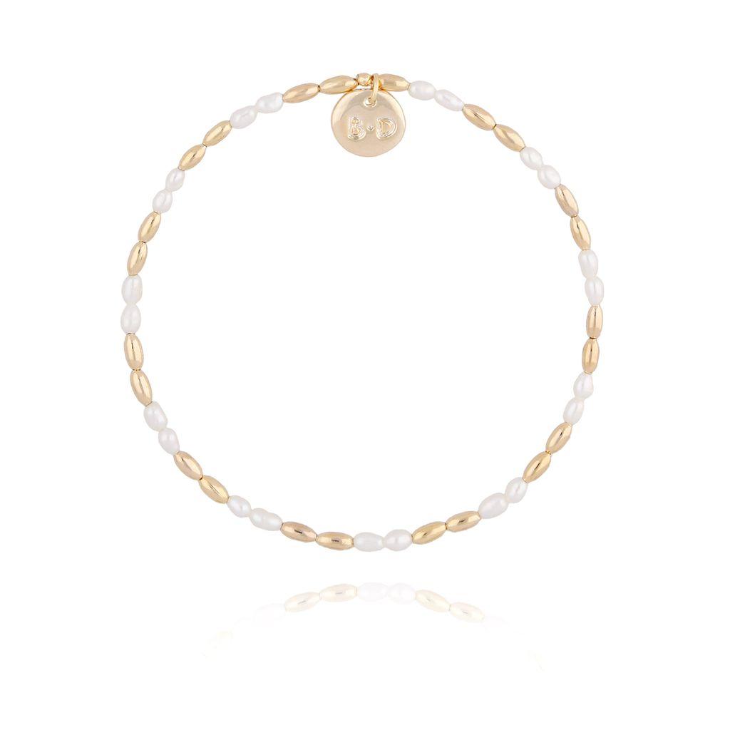 Bransoletka ze złotym hematytem i perłami BTW0210