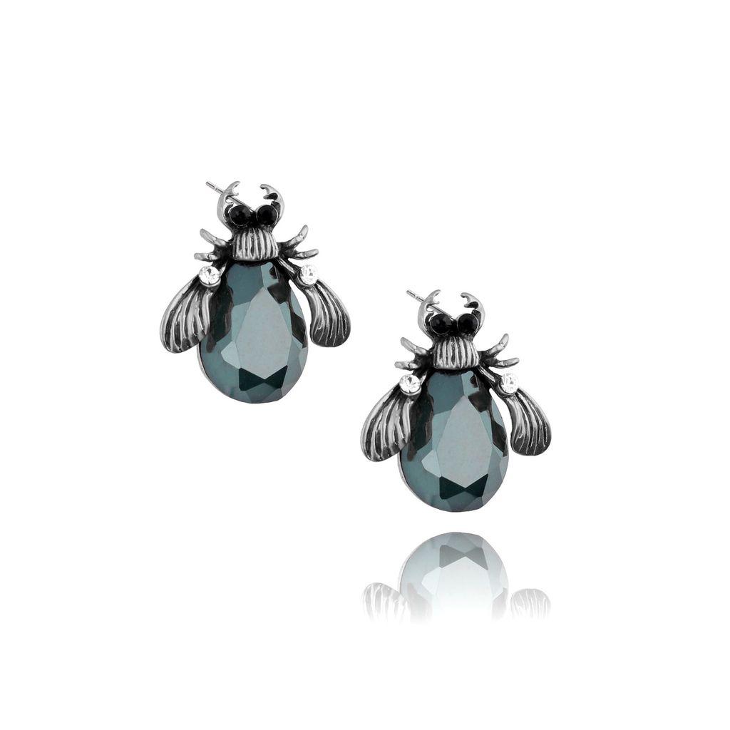 Kolczyki srebrne żuki ze szmaragdowymi kryształkami KMI0083