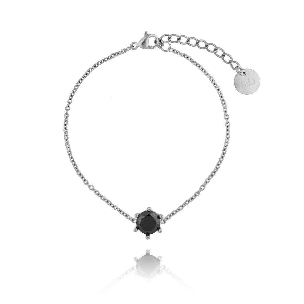 Bransoletka srebrna z kryształkiem ze stali szlachetnej BSA0097