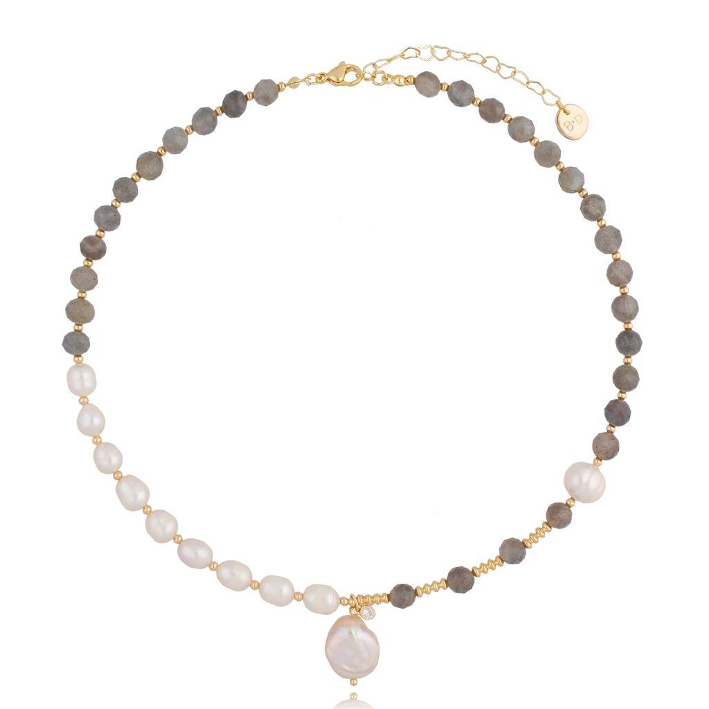 Naszyjnik z labradorytami i perłami NPA0345