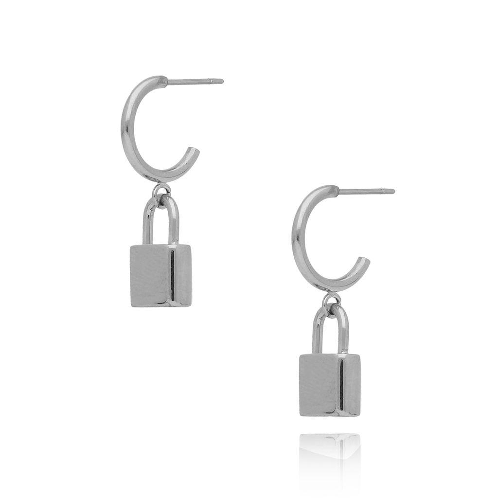 Kolczyki srebrne z kłódką ze stali szlachetnej KSA0111