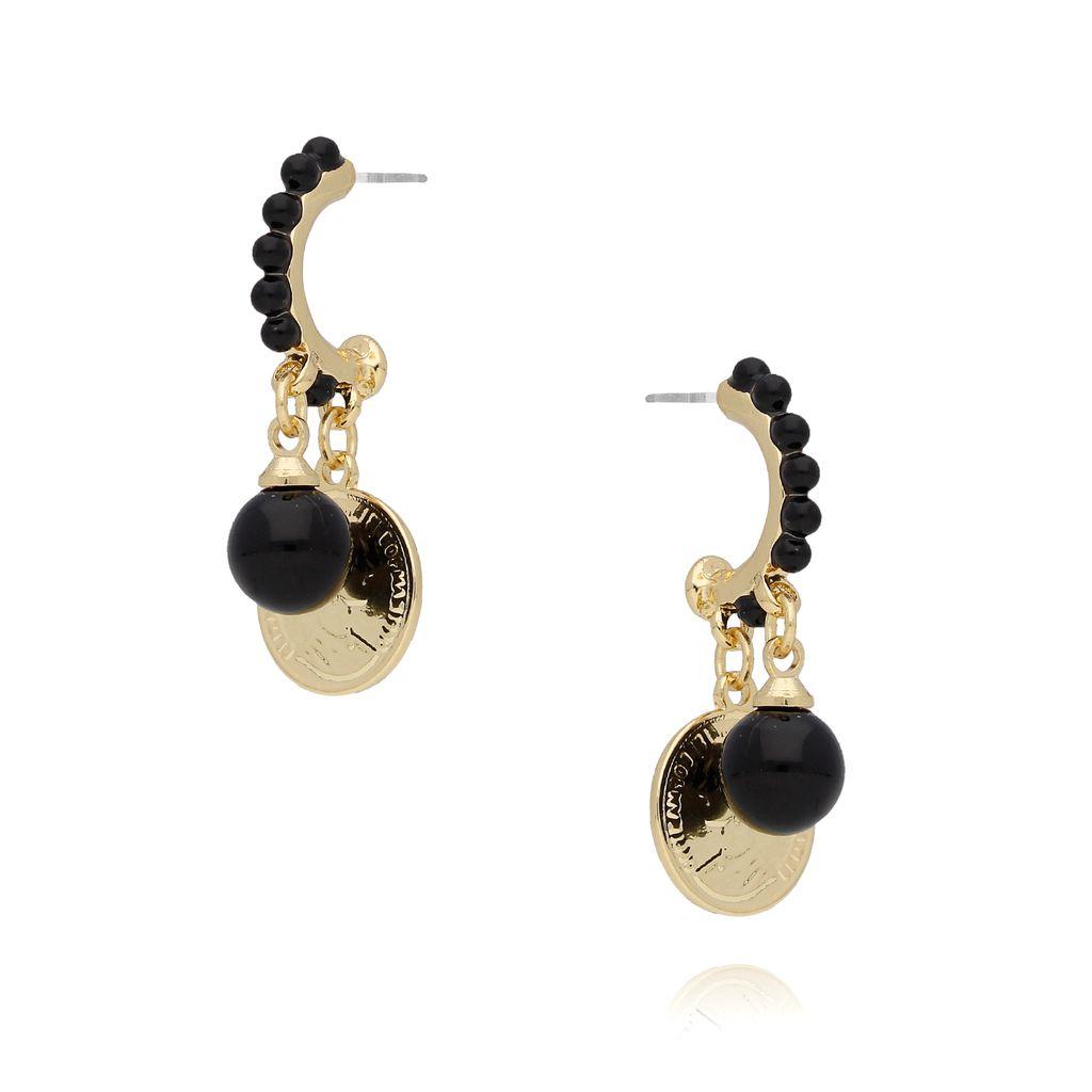 Kolczyki ze złotymi monetkami i czarnymi perełkami KRG0545
