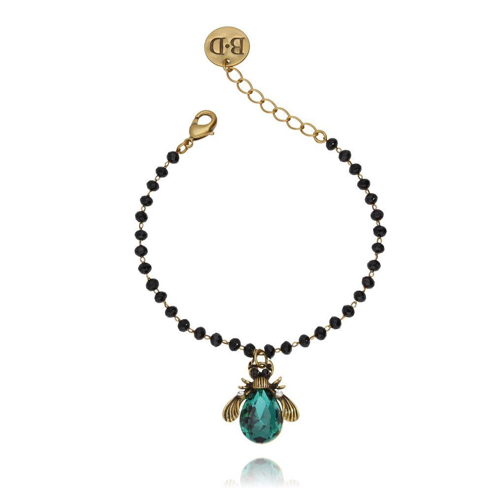 Bransoletka zielony żuk z kryształkami BMI0018