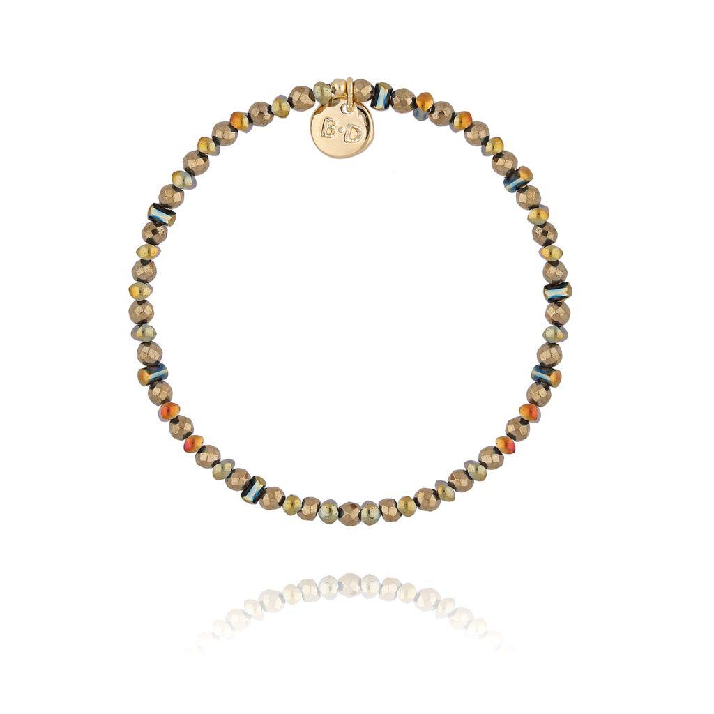 Bransoletka z brązowo złotymi kryształkami BTW0282