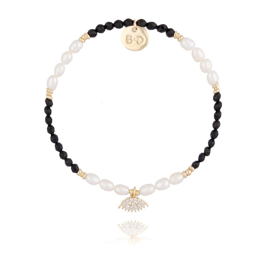 Bransoletka z onyksem i perłami BTW0206