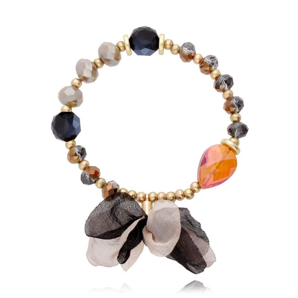 Bransoletka kolorowa z kryształków - jedwabny kwiat BBL0051