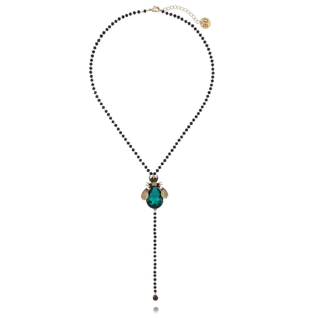 Naszyjnik szmaragdowy żuk z czarnymi kryształkami NMI0027
