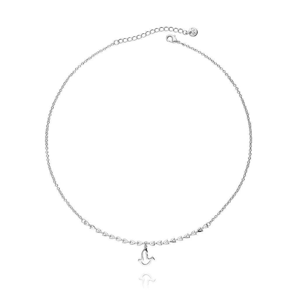 Naszyjnik srebrny gołąb z listkami NNE0008