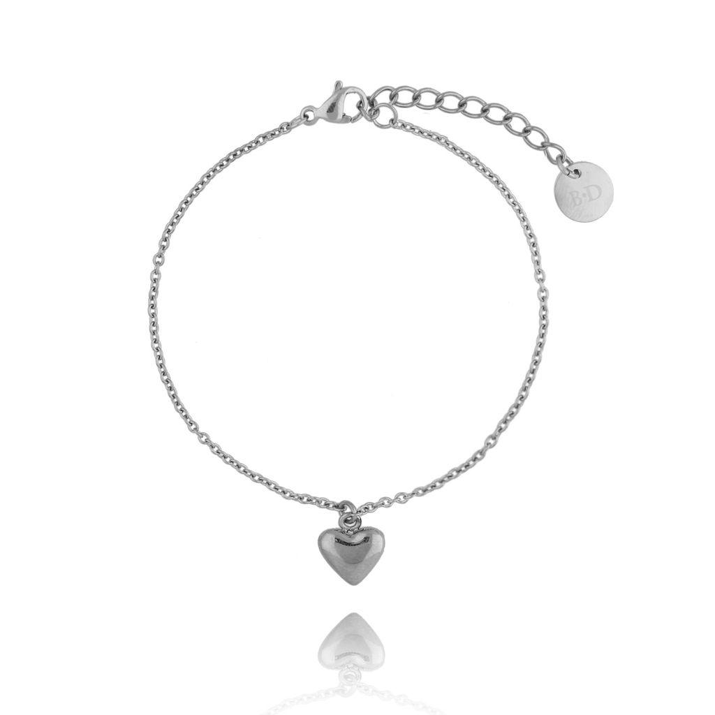 Bransoletka srebrna z sercem ze stali szlachetnej BSA0101