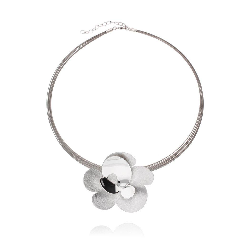 Naszyjnik srebrny kwiatek szczotkowany NLE0013