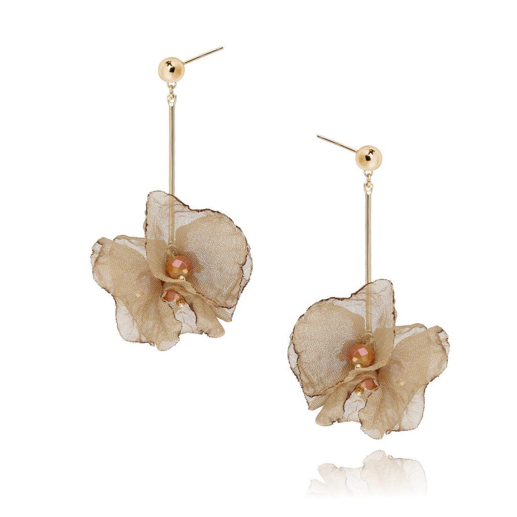 Kolczyki jedwabne kwiaty - orzechowe KBL0177