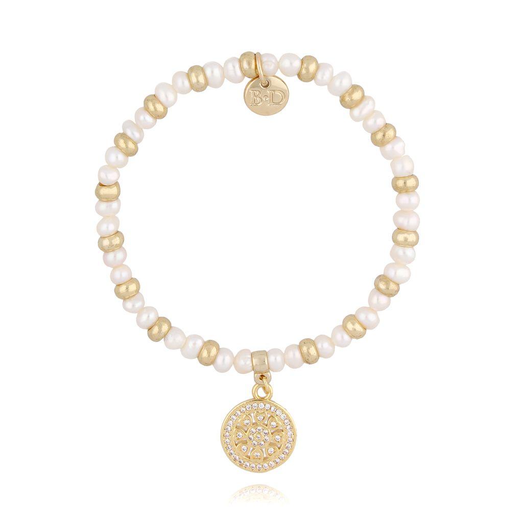 Bransoletka  z perłami i złotą rozetką BSC0735