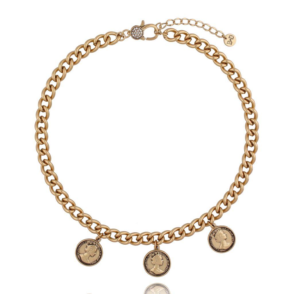 Naszyjnik antyczne złoto z monetami NRG0254