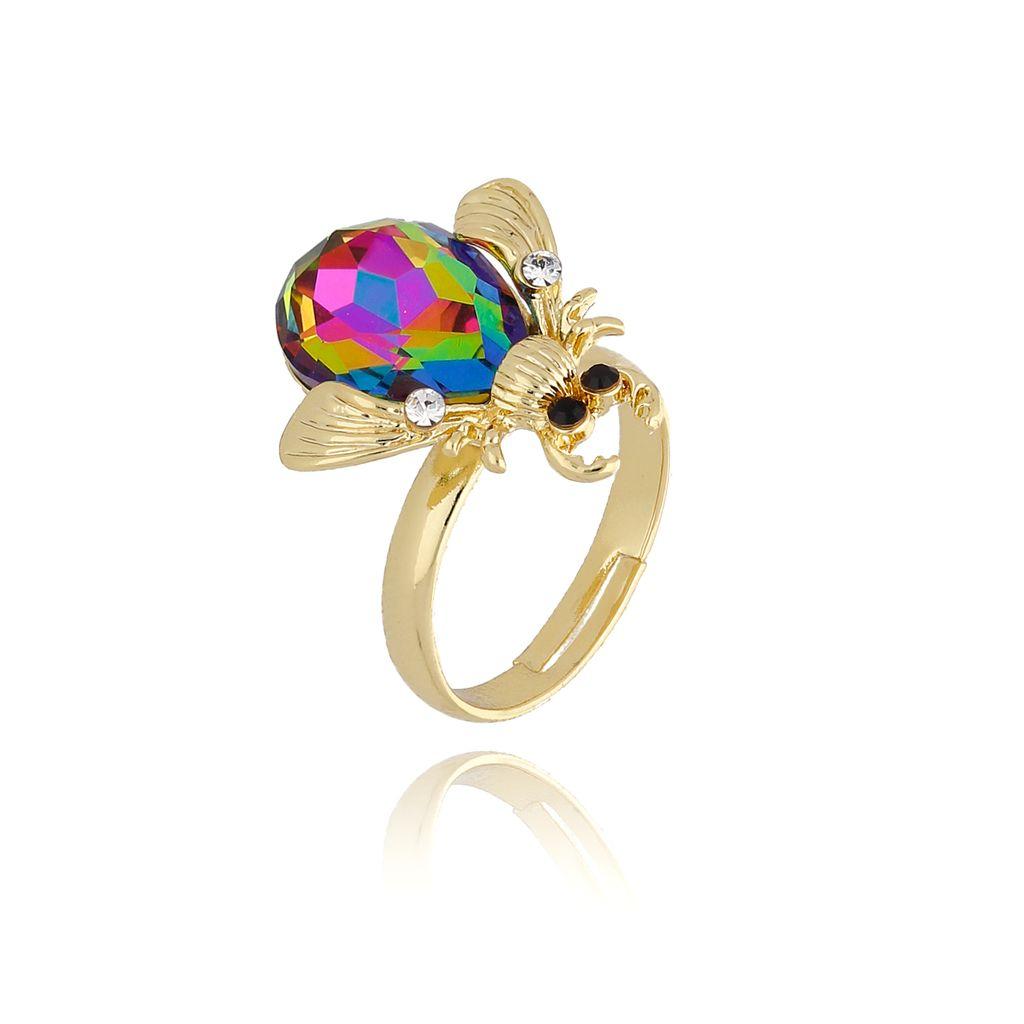 Pierścionek żuk z fioletowym kryształkiem PMI0078