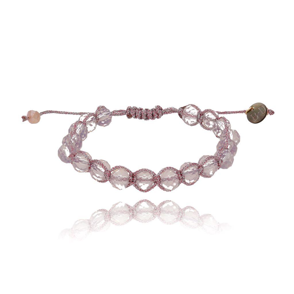Bransoletka pleciona z liliowymi kryształkami BBL0072