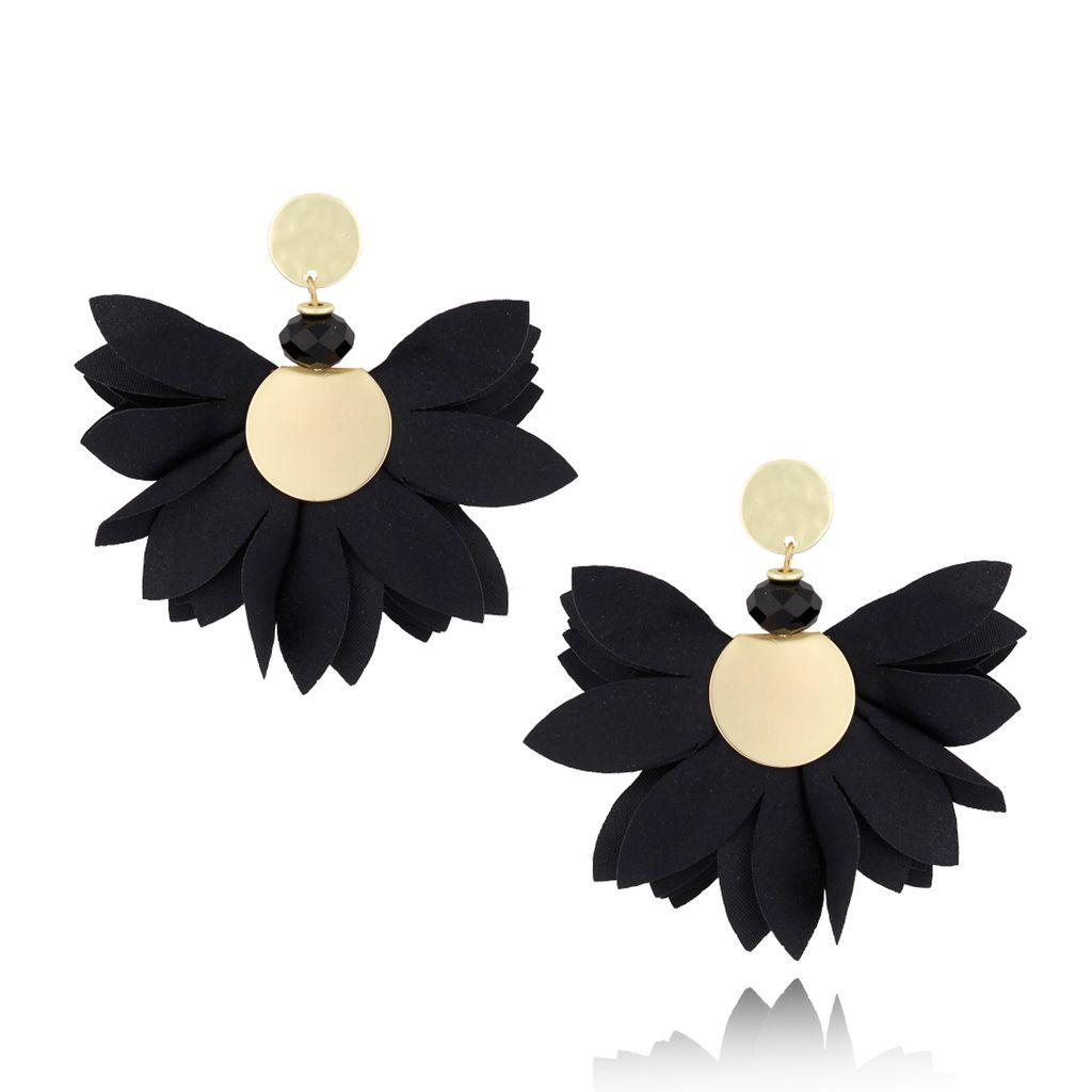Kolczyki satynowe kwiaty  Blossom  czarne KBL0306