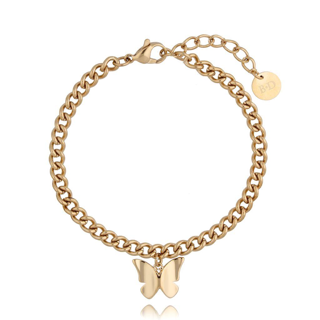 Bransoletka złota ze stali szlachetnej z motylkiem BSA0107