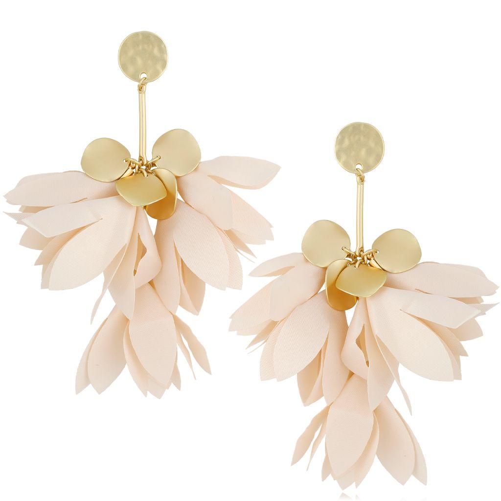 Kolczyki satynowe kwiaty kremowe KBL0498