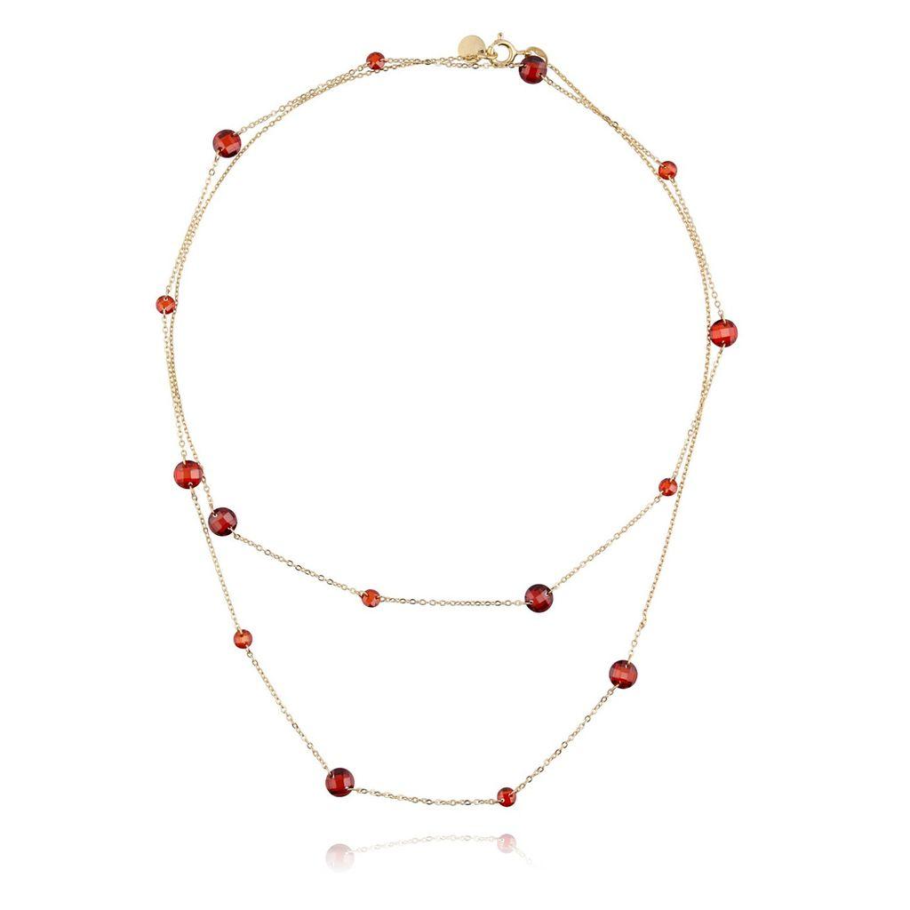 Naszyjnik srebrny pozłacany z czerwonymi kryształkami NCI0049