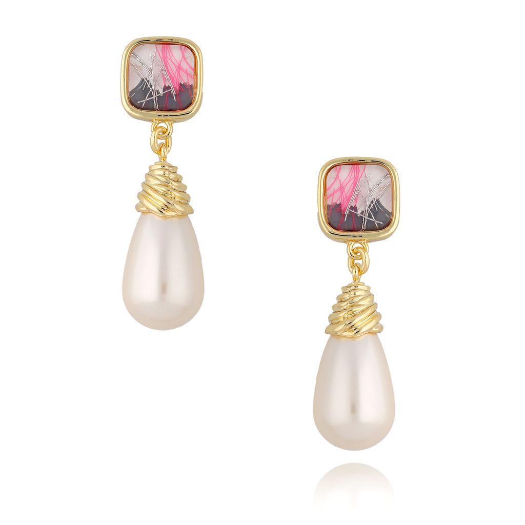 Kolczyki złote sople z perłami KPE0044