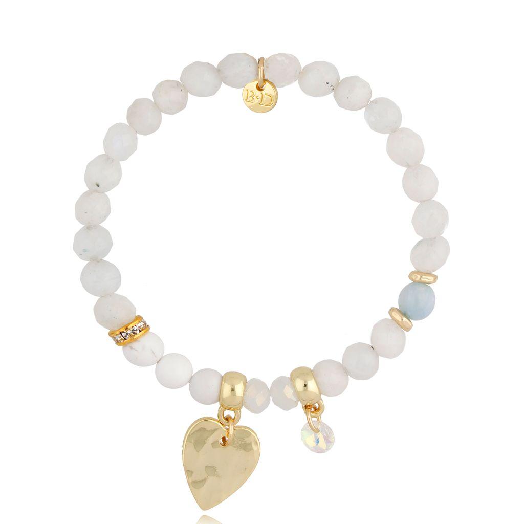Bransoletka z kamieniem księżycowym White Heart BMMH3979