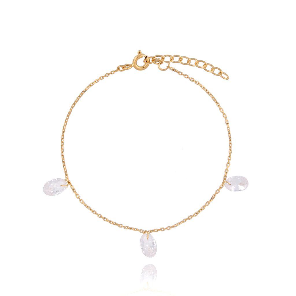 Bransoletka srebrna pozłacana z kryształkami BSE0116