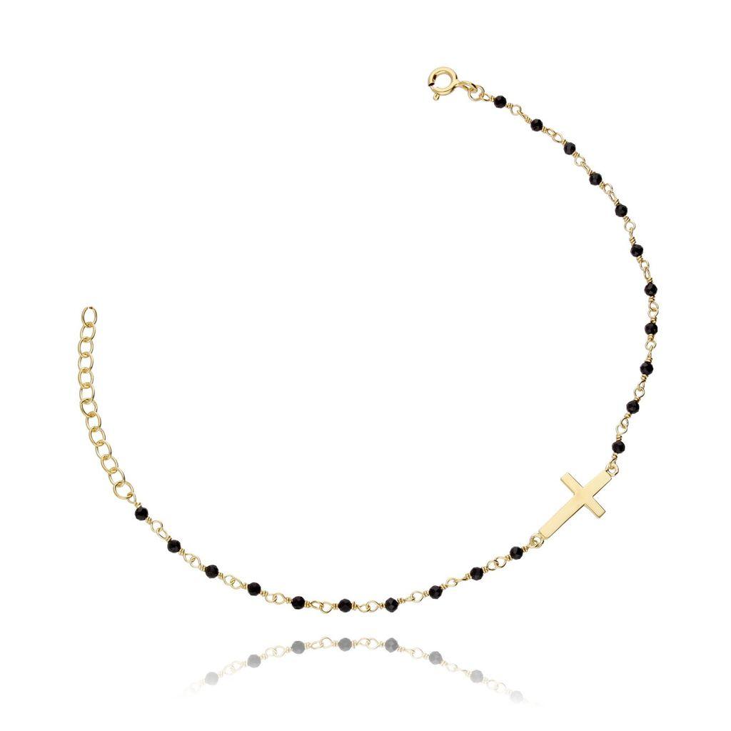Bransoletka srebrna krzyżyk z kryształkami pozłacana BSE0035