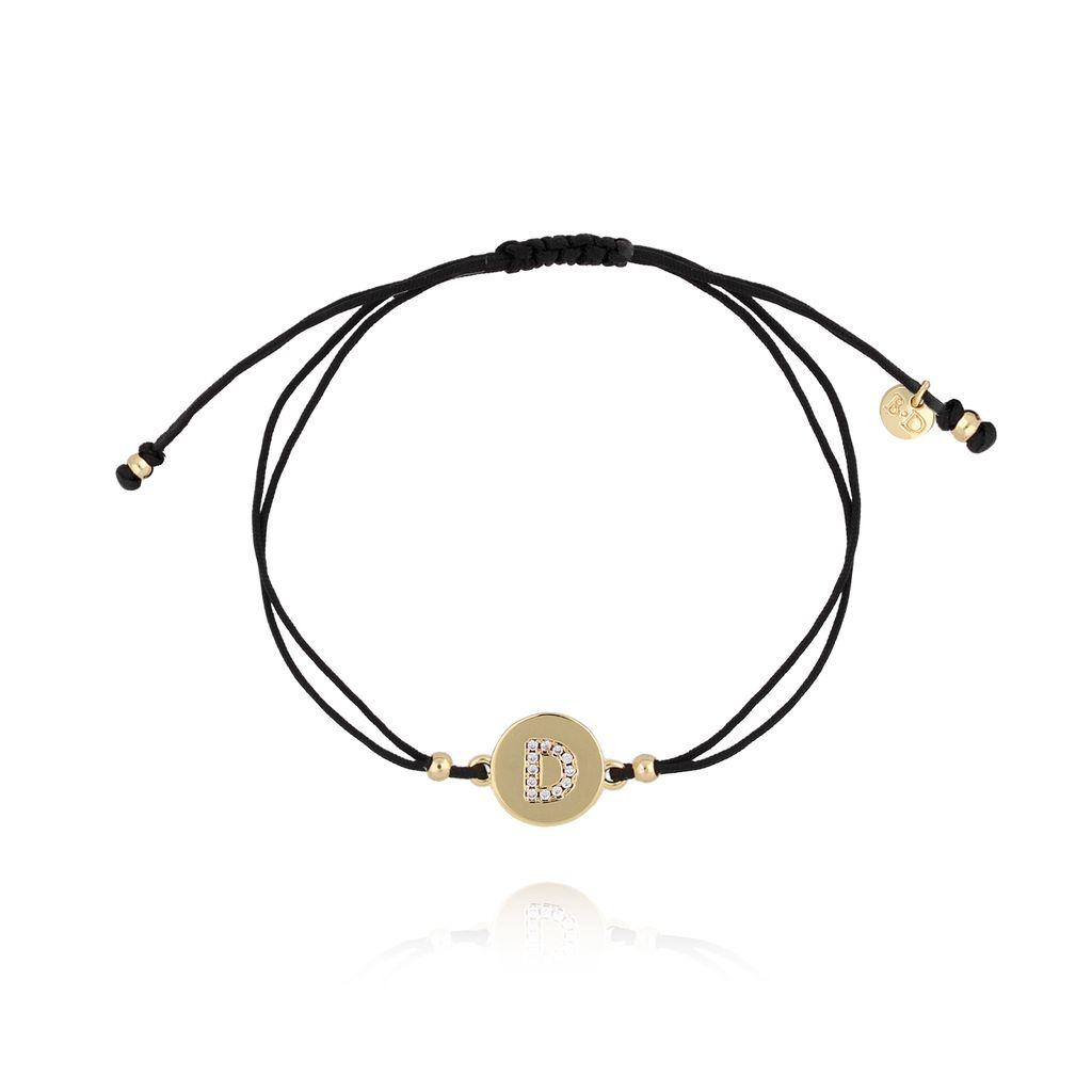 Bransoletka złota na sznurku z literką D BAT0012