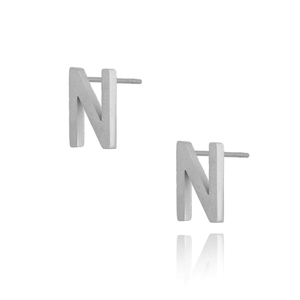 Kolczyki wkrętki srebrne z literką N KAT0054