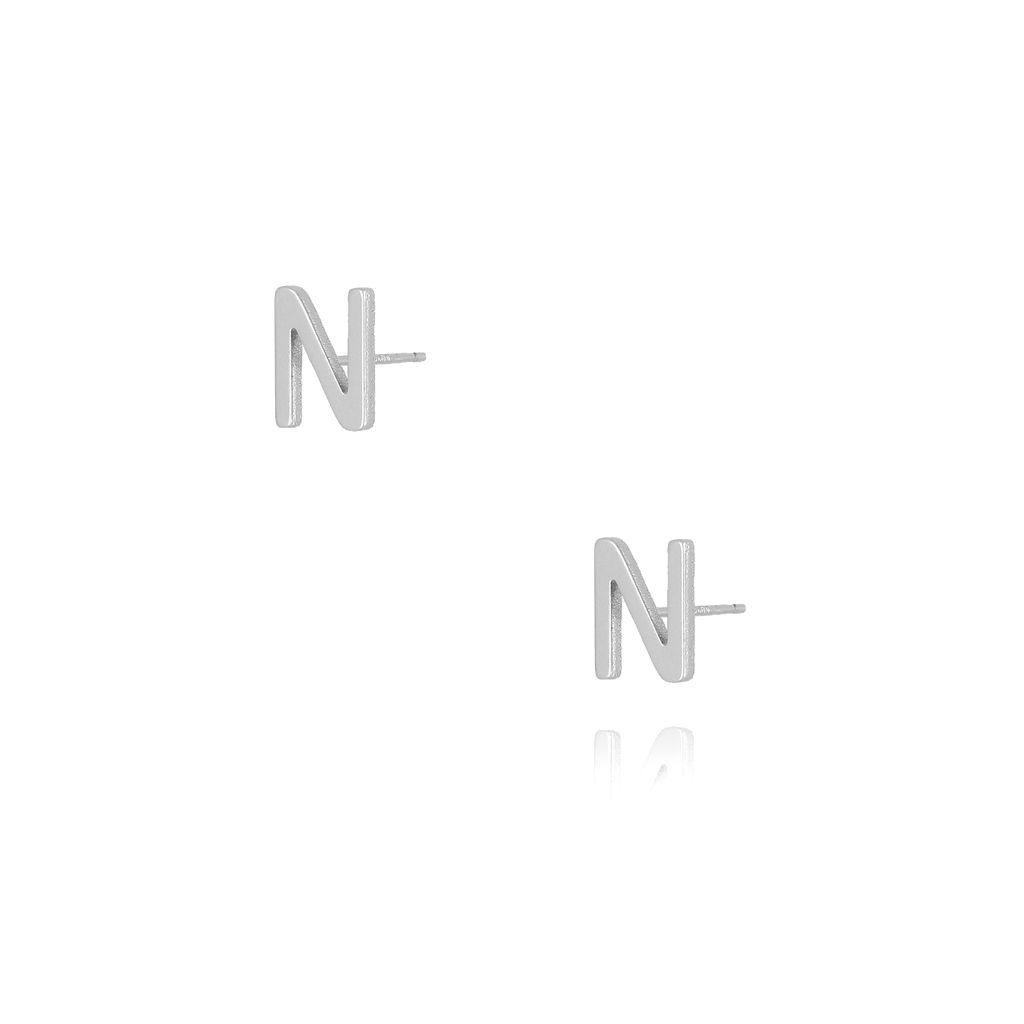 Kolczyki wkrętki z literką N srebrne KAT0018