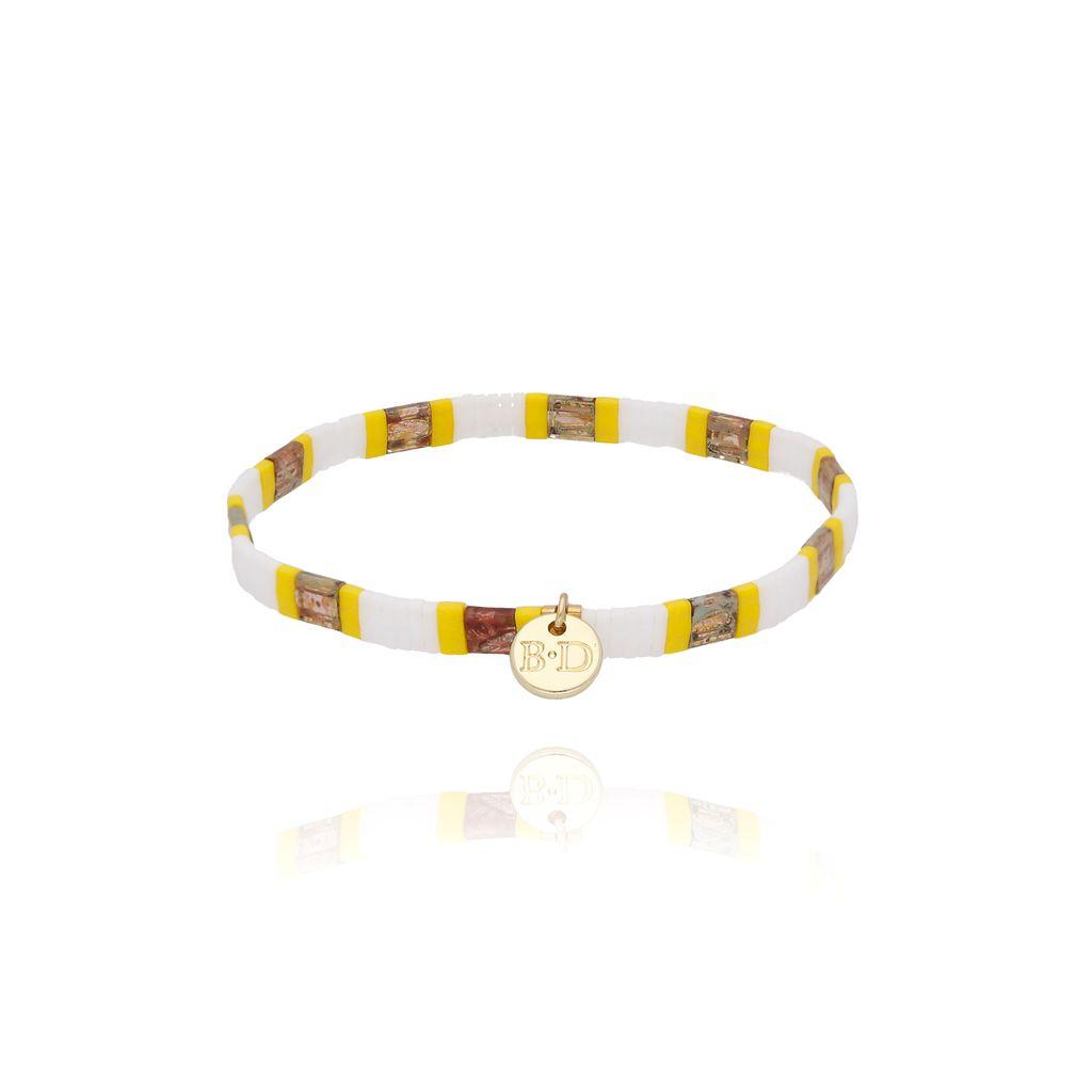 Bransoletka elastyczna żółto biała  BLB0054