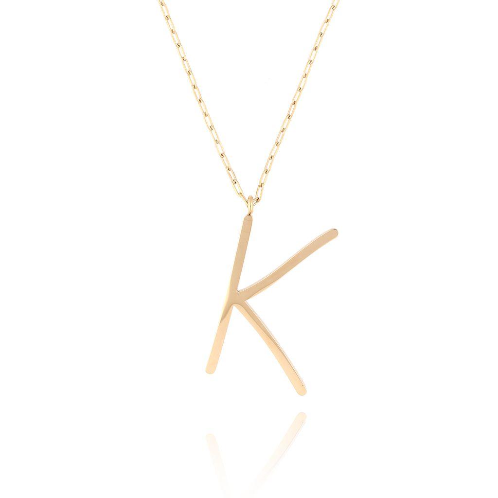 Naszyjnik ze stali szlachetnej złoty literka K Alphabet NAT0025