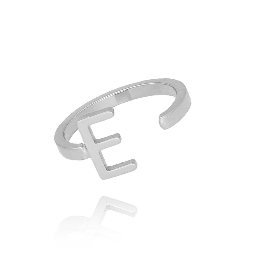 Pierścionek srebrny literka E PAT0007