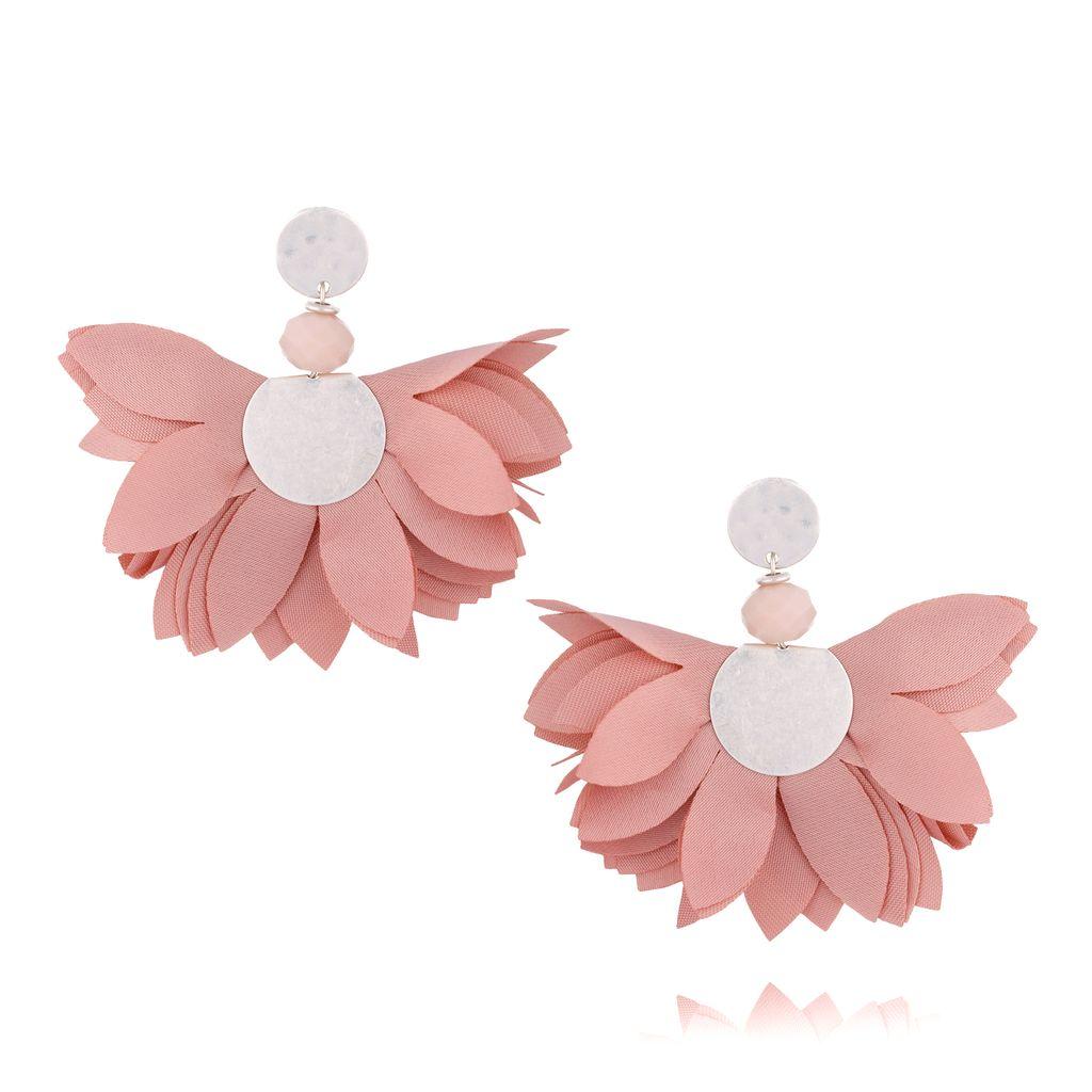 Kolczyki satynowe kwiaty Blossom różowe KBL0353