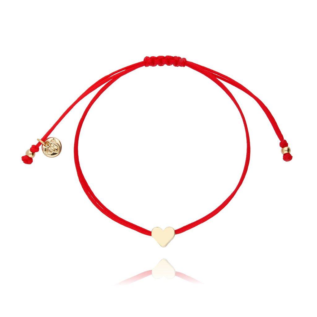 Bransoletka na sznurku czerwona - złote serduszko BGL0406